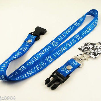 """Blue With White Lettering Princess 15"""" lanyard for ID Holder and mobile device"""