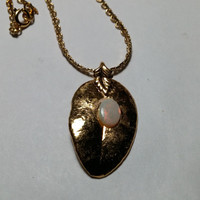 Gold Dipped Leaf with Milk Opal Necklace
