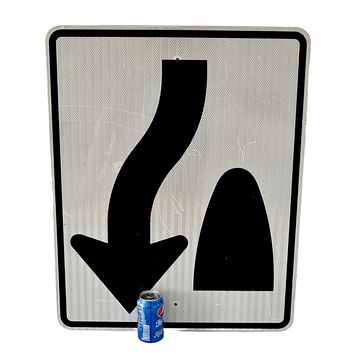 Reflective Vintage Road Sign Large Keep Right of Meridian