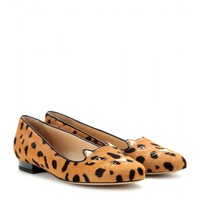 charlotte olympia - kitty leopard-print calf hair slippers