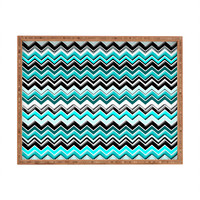 Madart Inc. Turquoise Black White Chevron Rectangular Tray
