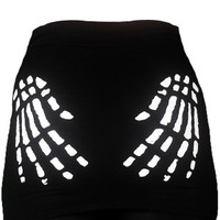 Skeleton Hands Mini Skirt Black/White