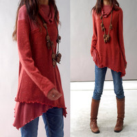 Face  layered woolen tunic dress Y1221 by idea2lifestyle on Etsy