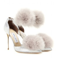 Dolly 100 glitter and fur-trimmed pumps