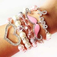 Arm Candy: 5 Piece Crystal Hope Mustache Heart Sideways Fashion Stacked Bracelet Set