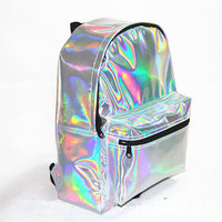 HOLOGRAPHIC BACKPACK : Intergalactic Fashion, 90's Grunge Tumblr, Trippy Alien, Dreamy Rainbow Melt