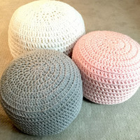 Pink Grey Blue White Hand Crochet Ottoman Pouf, Footstool, Cushion! STUFFED! Perfect gift for baby showers!
