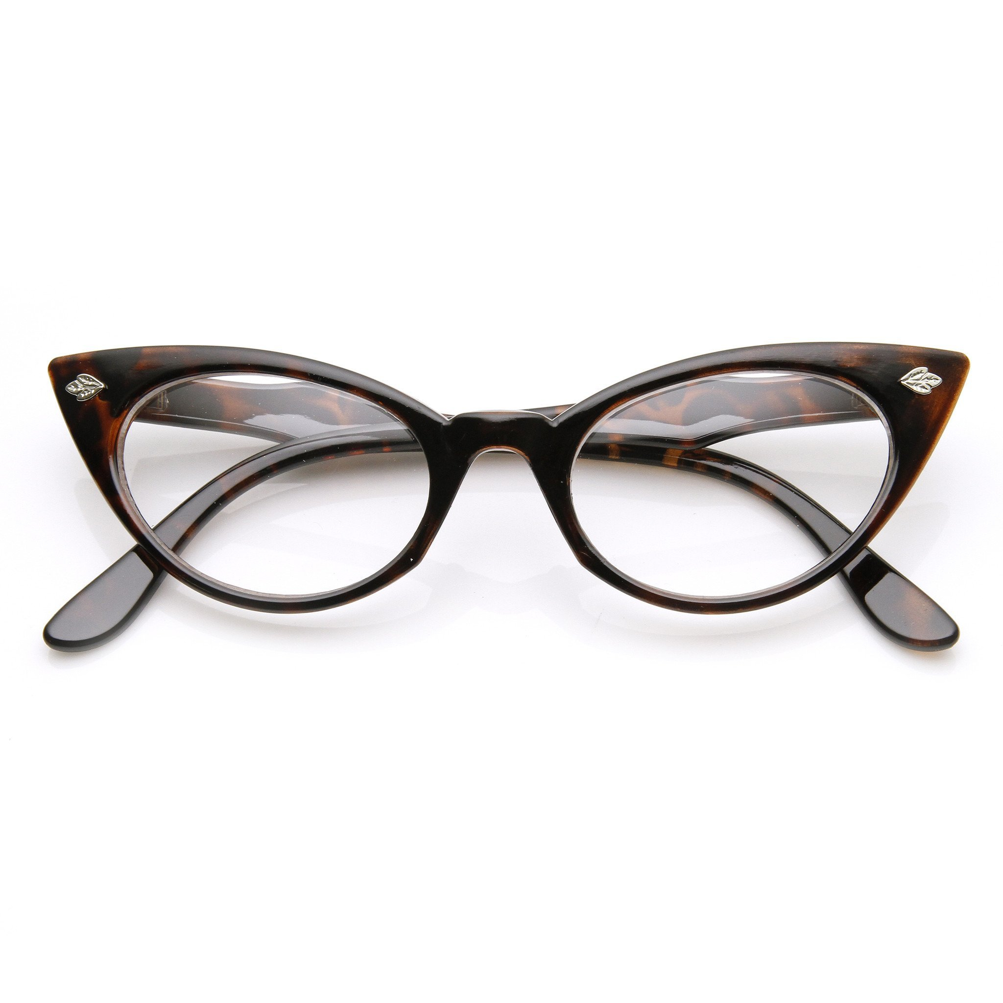 Image of Womens 1960's Fashion Leaf Accent Cat Eye Clear Lens Glasses 9314
