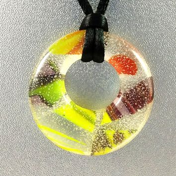 Handmade Recycled Art Glass Yellow Orange and Maroon Hoop Jewelry Pendant, Fall Gift, Design By...