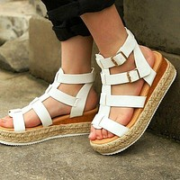 Fashion plus size women's sandals, women's casual slope with Roman women's sandals