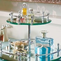 Belmont Lazy Susan Mirrored Vanity Makeup Trays