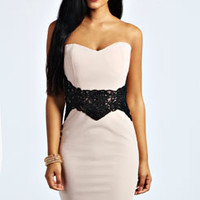 Maya Embroidered Waist Detail Bodycon Dress