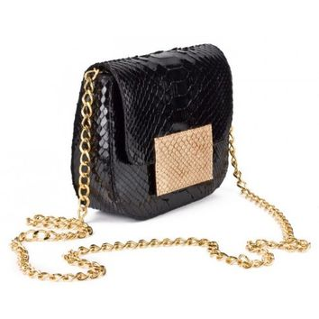 Circle & Square | Black/Gold Rimini Python Clutch/Shoulder Bag
