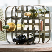9 Bottle Iron Crate Bottle Rack