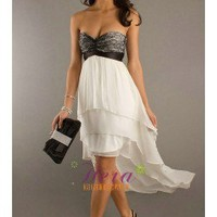 Sweetheart White and Black Hi-low Prom Dress