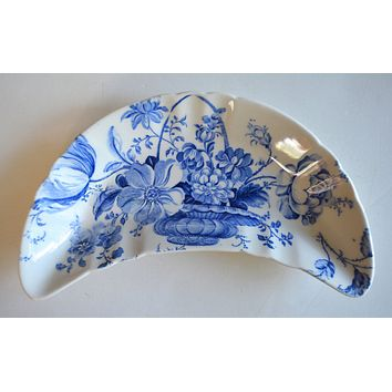 Blue & White Floral Transferware Crescent Bone Dish Charlotte Basket of Flowers as seen w/ Caviar Taco Dish at Rose.Rabbit.Lie