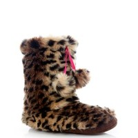 New Look Mobile | Brown Leopard Print Faux Fur Slipper Boots