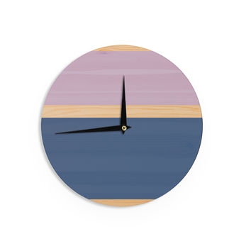 "KESS Original ""Spring Swatch - Blue Lavender"" Purple Wood Wall Clock"