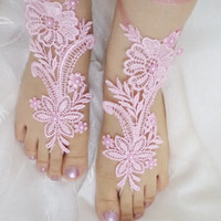 beach shoes, bridal sandals, beaded lariat sandals, wedding bridal, barefoot sandles, Pink accessories, wedding shoes, summer wear