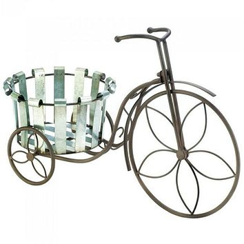 Tricycle Plant Stand with Galvanized Metal Bucket