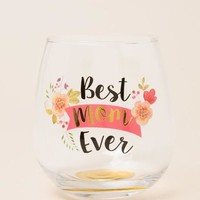 Best Mom Ever Floral Stemless Wine Glass