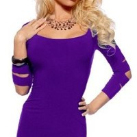 Amazon.com: Sexy Long Sleeve Club Party Fitted Cocktail Mini Dress (Large, Purple): Clothing