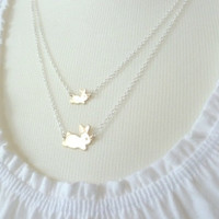 Bunny rabbit necklace - sweet mom and little baby brass bunnies on double layered silver chain, mixed metals  - Hare Family