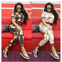 2 Piece Short Sleeve Tees And Matching Printed Long Pants Women Tracksuits