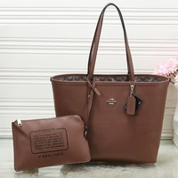Perfect COACH Women Shopping Leather Handbag Tote Shoulder Bag Set Two Piece