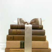Decorative Books,Tan,Latte,Chocolate Books,Champagne,Gold,Copper,Linen Books,Ivory,Shabby Chic,Books for Wedding,Book Collection,Old Books