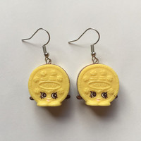 Shopkins Foodie Earrings - Cream E Cookie (yellow) [Choc Frosted] - made with repurposed toys