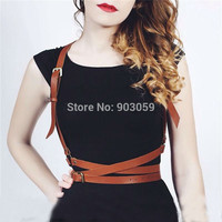 Fashion Three layers Faux Leather Harness Body Bondage Cage Shoulder Wraped Waist Straps Suclpting Belt Punk Harajuku Garters