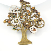 Steampunk Family Tree Birthstone Necklace Jewelry - Bronze and Silver Tone, Made with Swarovski® Elements Rhinestones