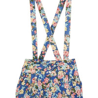 ROMWE Crossed Belt Floral Print Elastic Blue Playsuit