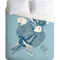 Blue Pigeons Duvet Cover / Twin, King Queen Size Duvet / Pigeon Blanket / Pigeon Duvet / Kids Room Blanket / Birds Bedding / Boys Duvet