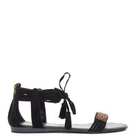 Rayne Beaded Sandals - Black