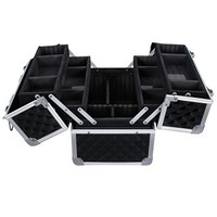 SONGMICS Adjustable Makeup Train Case Alumi Portable Cosmetic Box With 4 extendable trays and 2 locks Black UMUC12C