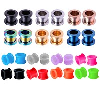 BodyJ4You 28PCS Gauge Plugs Tunnels Silicone Double Flare Steel Screw Fit Ear Expander 4G-16mm
