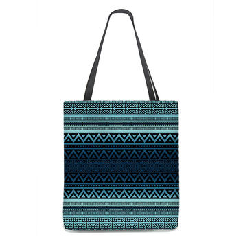 Tribal Tote Bag in blue ombre