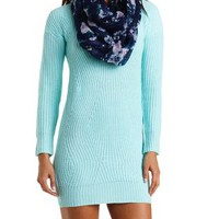 Curved Stitch Sweater Dress by Charlotte Russe - Blue Tint