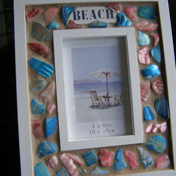 "Red and Blue Abalone Shell ""Beach"" Frame, 4 x 6, Abalone Shell, Seashell, Beach Decor, Photo Frame"