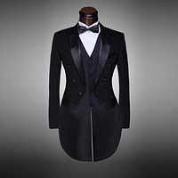 Classic Design Men Black&White Wedding Suit/Groom Tuxedo/Evening Party/Costumes Tailcoat 4pieces Blazer(Jacket+Pants+Belt+Tie)