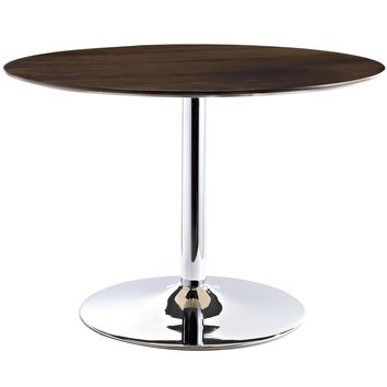 Rostrum Round Wood Top Dining Table Walnut EEI-784-WAL