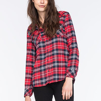 Ci Sono Womens Flannel Shirt Red Combo  In Sizes