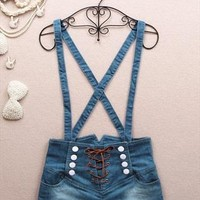 061401 Retro double-breasted high waist denim overalls from cassie2013