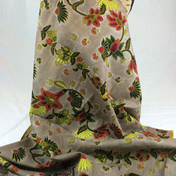 Kenyan Fabric--African Wax Print Fabric--Java Print Fabric--Taupe with Red and Yellow Flowers--African Fabric by the HALF YARD