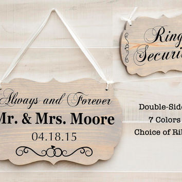 Personalized Double Sided romantic wedding wood sign - 7 colors. Mr. and Mrs., Ring Security, Ring Bearer sign. Rustic Beach Wedding Decor