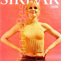 Sexy Knitting Pattern Instant Download pdf 1970s SUN Gold CROP TOP Midriff Bikini Club Party Holiday Resort Vintage Beso