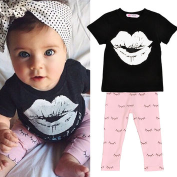 Newborn Baby Boys Girls Clothes Toddler Kids T-shirt TopsPants Outfit 2 Pieces Clothing Sets Suit SM6