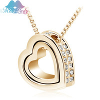 New 2016 18K Gold Plated Austrian Crystal design Brand male Heart pendant chain necklace Fashion Jewelry for 2016 women 2891
